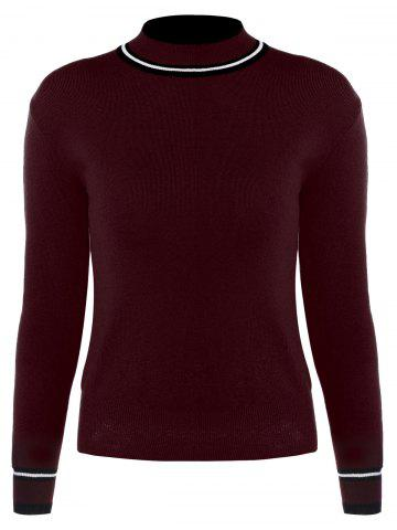 Hot High Neck Sweater - ONE SIZE WINE RED Mobile