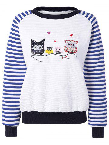 Owl Stripe Raglan Sweatshirt - Navy Blue - One Size