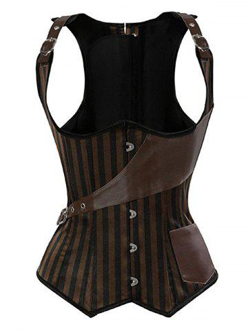 Trendy Striped Faux Leather Insert Corset