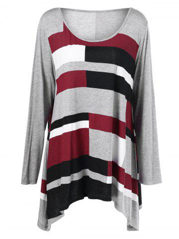 Affordable Color Block Asymmetrical Plus Size Tee CHECKED XL