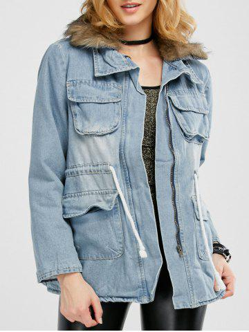 Sale Faux Fur Denim Coat with Pockets - M DENIM BLUE Mobile