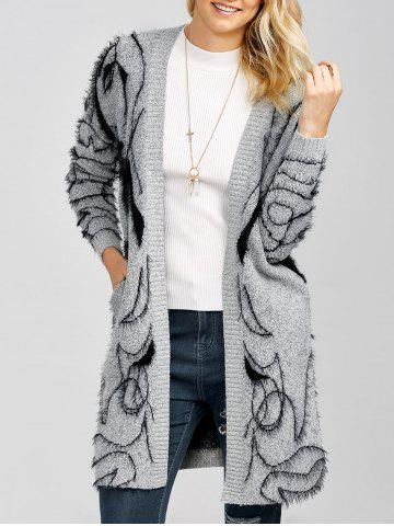 Outfit Longline Open Front Fuzzy Knit Cardigan GRAY ONE SIZE