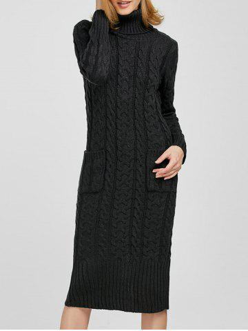 Buy Turtleneck  Long Sleeve Cable Knit Sweater Dress DEEP GRAY ONE SIZE