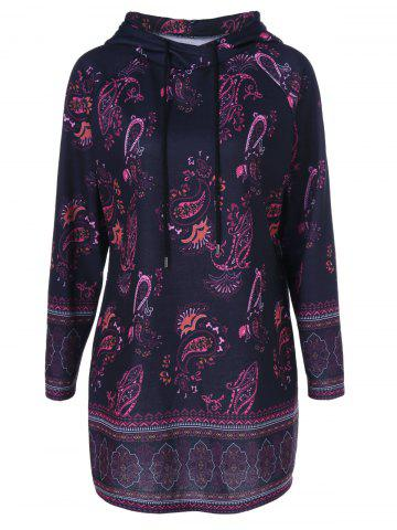 Affordable Plus Size Paisley Pattern Longline Hoodie
