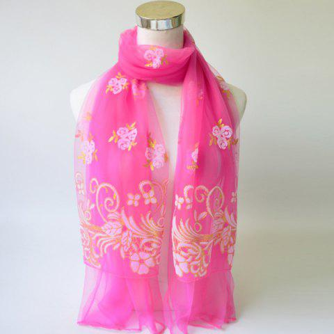 Outfits Breathable Glitter Powder Floral Pattern Lace Scarf
