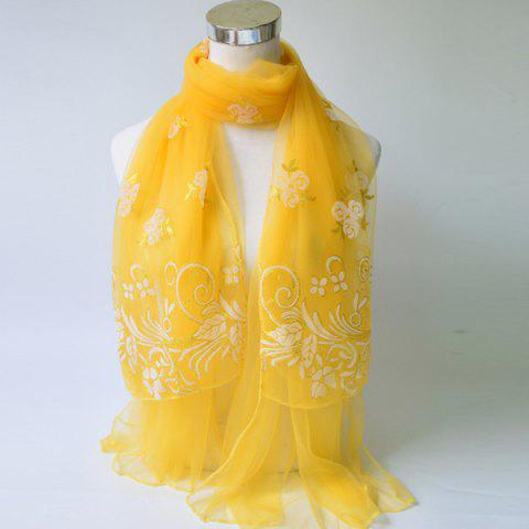 Breathable Glitter Powder Floral Pattern Lace Scarf - Yellow