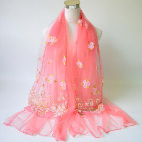 Breathable Glitter Powder Floral Pattern Lace Scarf - Watermelon Red
