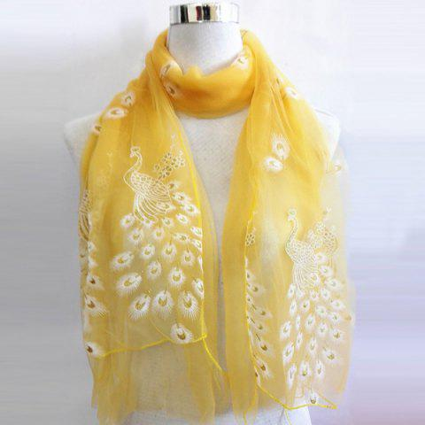 Best Breathable Peacock Shape Flocking Glitter Powder Lace Scarf