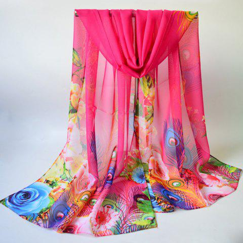 Unique Breathable Peacock Feather and Floral Print Chiffon Scarf DEEP PINK