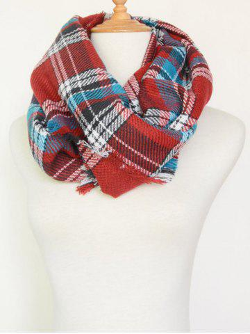 Latest Plaid Pattern Fringed Warm Cowl Scarf RED