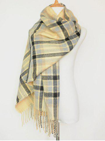 Chic Dual Use Tartan Pattern Tassel Warm Pashmina Wrap Scarf