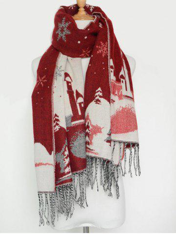Trendy Christmas Snow Covered Landscape Tassel Warm Scarf WINE RED