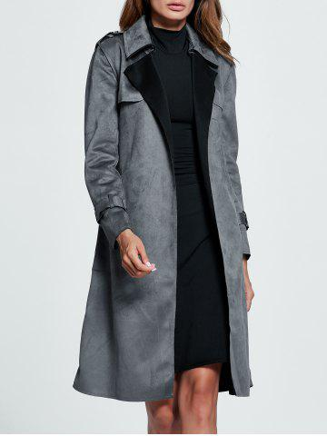 Sale Belted Sueded Draped Trench Coat - XL GRAY Mobile