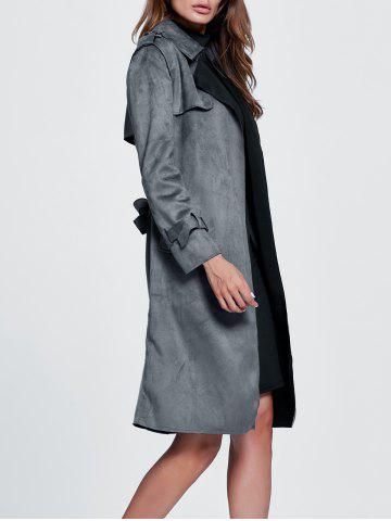 Discount Belted Sueded Draped Trench Coat - XL GRAY Mobile