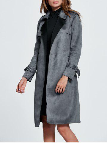 Chic Belted Sueded Draped Trench Coat - XL GRAY Mobile