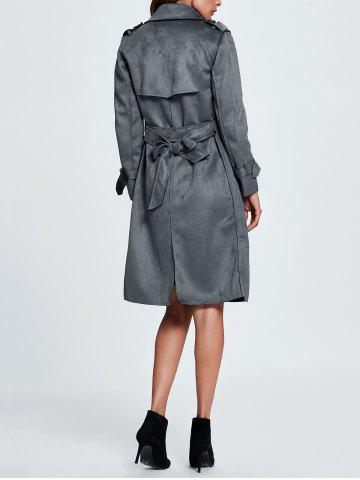 Affordable Belted Sueded Draped Trench Coat - XL GRAY Mobile