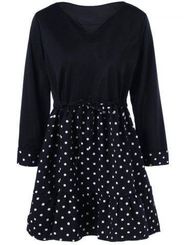 Hot Polka Dot Plus Size Mini Vintage Dress BLACK 5XL