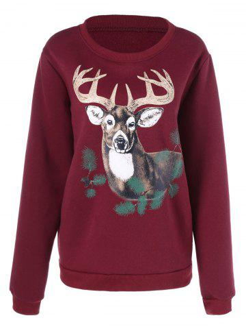 Christmas ELK Printed Pullover Sweatshirt - WINE RED 3XL