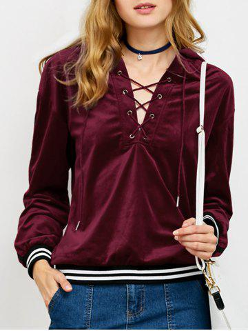 Shops Striped Trim Lace-Up Hoodie
