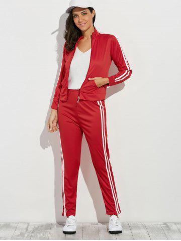 Outfits Zip Up Striped Running Jacket with Jogging Pants - M RED Mobile