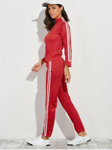 Fancy Zip Up Striped Running Jacket with Jogging Pants - M RED Mobile