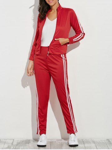 Fashion Zip Up Striped Running Jacket with Jogging Pants - M RED Mobile