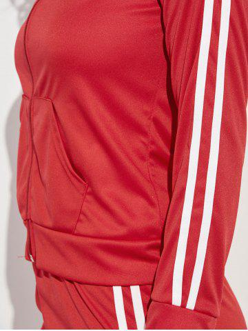 Buy Zip Up Striped Running Jacket with Jogging Pants - M RED Mobile