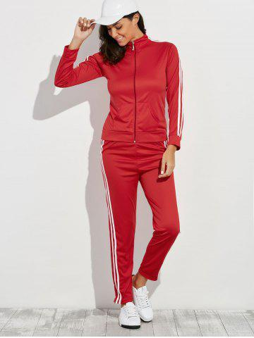 Cheap Zip Up Striped Running Jacket with Jogging Pants - M RED Mobile