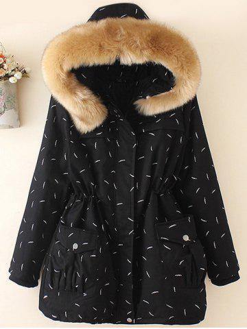 Buy Plus Size Faux Fur Hooded Printed Parka