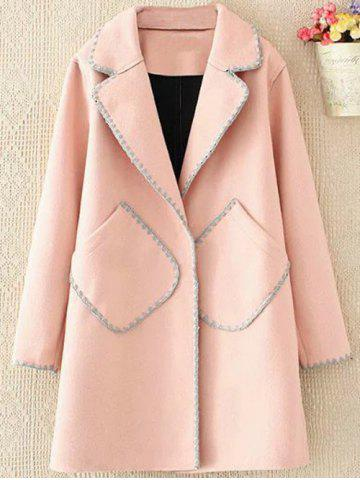 Affordable Plus Size Longline Embroidered Wool Blend Coat - 4XL SHALLOW PINK Mobile