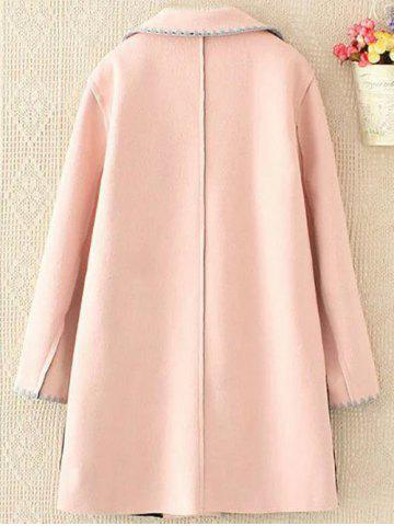 Fancy Plus Size Longline Embroidered Wool Blend Coat - 4XL SHALLOW PINK Mobile