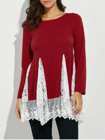 Chic Scoop Neck Lace Panel Longline Tee RED XL