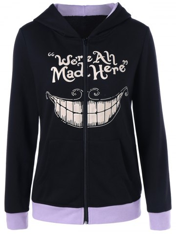 Cheap We Are All Mad Here Print Hoodie BLACK XL
