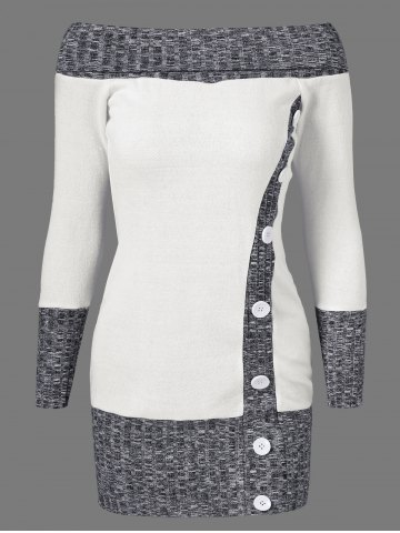 Discount Knitted Off The Shoulder Fitted Jumper Dress GREY/WHITE M