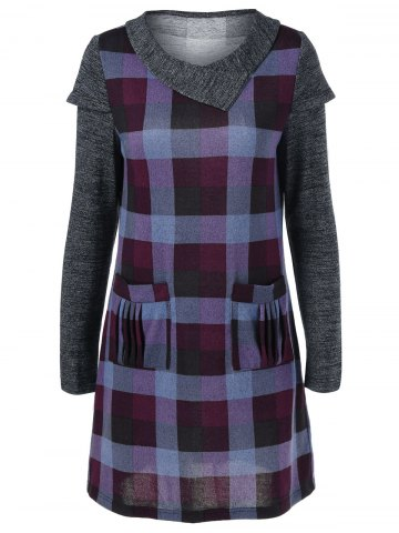 Fashion Ruched Pockets Plaid Dress