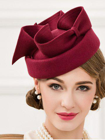 Online Cocktail Party Big Bowknot Felt Pillbox Hat WINE RED