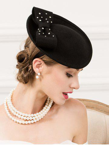 Cheap Formal Party Rhinestone Wool Felt Cocktail Hat BLACK