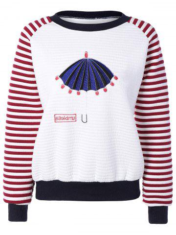 Pull a manches raglan rayées avec motif cartoon brodé Rouge TAILLE MOYENNE