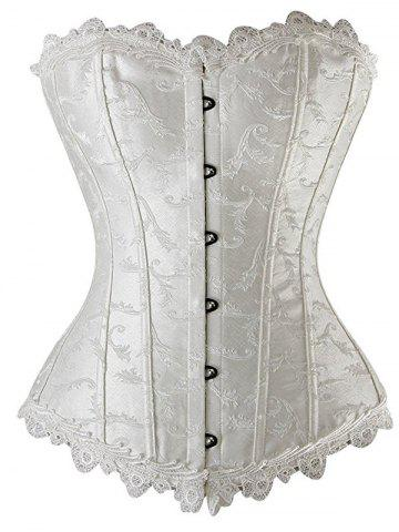 Online Lace Up Embroidered Corset WHITE XL