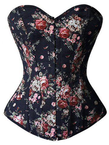 Trendy Floral Print Lace Up Strapless Corset Top