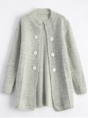 Discount Round Neck Long Chunky Knit Cardigan