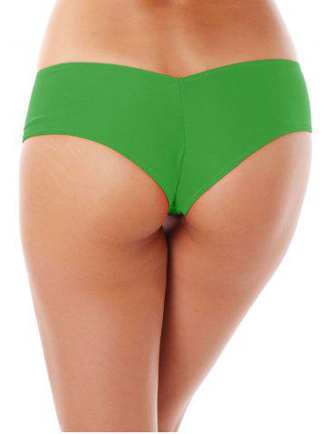 Best Low Waist Stretchy Panties - GREEN M Mobile