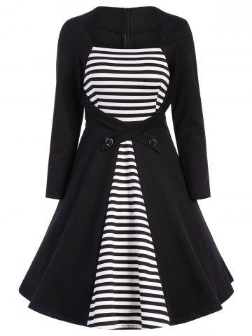 Buy Stripe Modest A Line Long Sleeve Dress - S BLACK Mobile