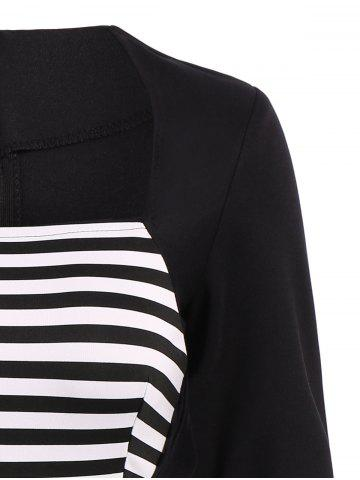 Fashion Stripe Modest A Line Long Sleeve Dress - S BLACK Mobile