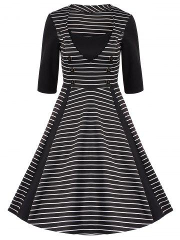 Unique Stripe Buttoned Fit and Flare Dress
