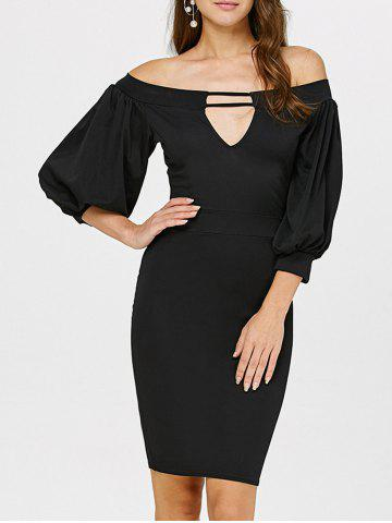 Outfit Off The Shoulder Puff Sleeves Bodycon Dress BLACK L