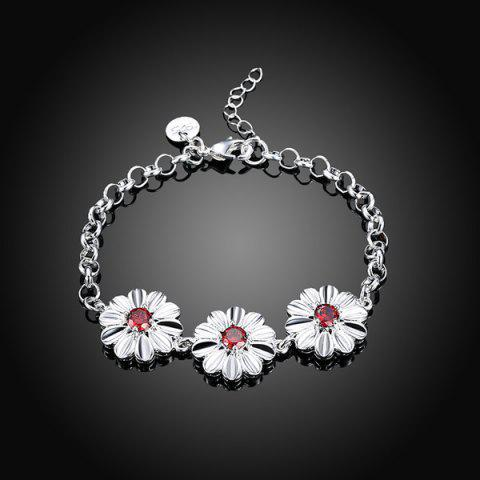 Unique Artificial Ruby Flower Bracelet