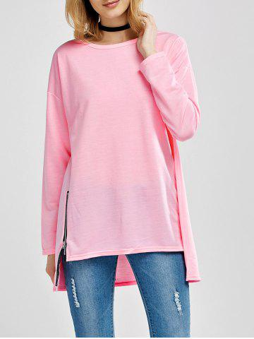 Store Asymmetrical Zipper Design Loose Tee