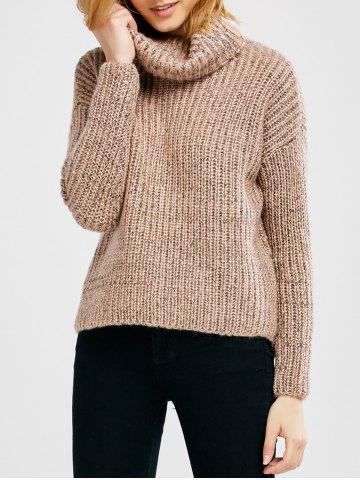 Fashion Turtle Neck Heathered Pullover Sweater PINK ONE SIZE
