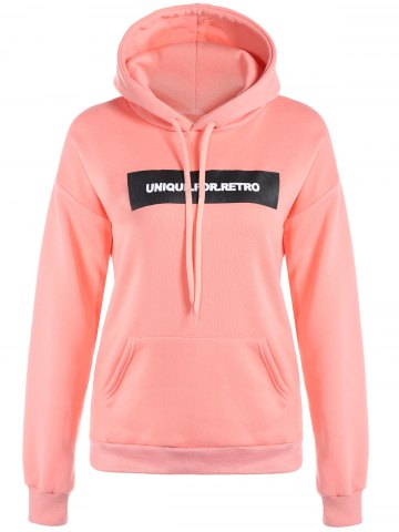 Affordable Letter Drawstring Hoodie PINK XL